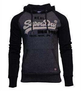 Superdry Mens Vintage Logo Duo Raglan Hoodie Overhead Long Sleeve Pullover Black