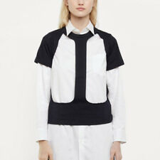 COMME DES GARCONS $320 black cut out panel open front tee frontless shirt S NEW
