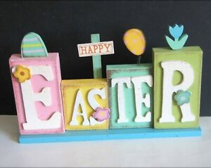 """Happy Easter Letters Sign Brightly colored composite blocks 11.25"""" FREE SH"""