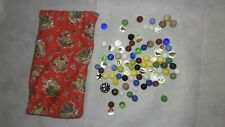 Lot of 83 Vintage Mixed Marbles, with Vintage Handmade Dust Pouch