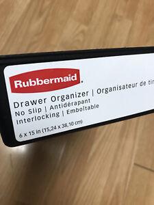Rubbermaid No-Slip Interlocking Drawer Organizer, 6-in. x 15-in, Black with Gray