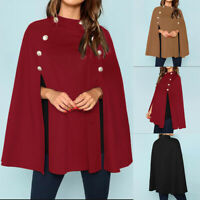 UK Women Batwing Sleeve Winter Cloak Cape Trench Coats Ladies Casual Poncho Tops