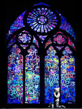 """BANKSY  """"Stained Glass Dark""""  StreetArt Print on GlossyPaper/Canvas READY2HANG"""