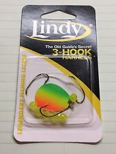 "LINDY, WALLEYE DRIFT RIG, 3 Hook FIRETIGER, 36"" HAND TIED, GS208, WORMS/MINNOWS"