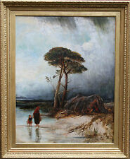 DAVID COX circle BRITISH WINDSWEPT STORMY LANDSCAPE OIL PAINTING ART 1783-1859