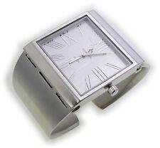 exklusive Damen Uhr versilbert Quarz Analog Spangenuhr mattiert Spange