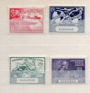 SARAWAK KGVI  1949 UPU COMPLETE SET of 4 MINT STAMPS
