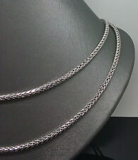 "Real 10K White Gold Palm Chain Necklace 3mm 38"" Inch Long,Rope,cuban #A10B1 N"