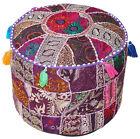 "Vtg 18"" Purple Round Ottoman~Pouf~Stool~Chair Tapestry Moroccan Pouf India Decor"