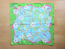 Lilly Pulitzer Ford Green Pink Ribbon Paisley Flowers Handkerchief Bandana Scarf