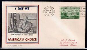 USA = 1952 `I LIKE IKE` Presidential Campaign cover. CLEVELAND. Slogan!! (O0949)