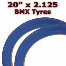 """1 paire Vélo Pneus /& Tubes 20/"""" X 2.125/"""" bleu//Gum Paroi Latérale BMX COMP 3"""