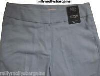 New Womens Marks & Spencer Blue Linen Straight Trousers Size 16 Short 12 10 Med