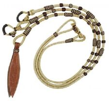 Western Natural Rawhide Braided Rommel Reins with Leather Popper & Brown Accent