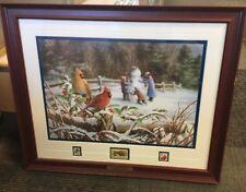 """Winter Cardinals"" Bradley Jackson Danbury Cardinal Bird Stamp 22x19 L1"