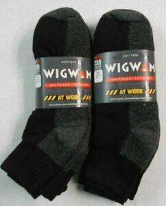 6 PAIR NEW Wigwam At Work Unisex Quarter Black Cushion Durable Socks Medium