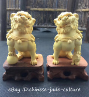 A Pair China Natural Boxwood Carving Fengshui Foo Fu Dog Evil Guardion Door Lion