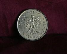 2008 Poland 5 Groszy World Coin Brass Y278 Polska Eagle Wings Polish Oak Leaves