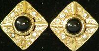 NEW Vintage 1981 Sq EARRINGS w.BLACK Stone & Rhinestone GOLDTONE CLIP-ON 231