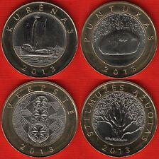 "Lithuania set of 4 coins: 2 litai 2013 ""Ship, stone, tree, distaff"" BiM. UNC"