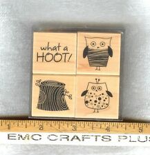 WHAT A HOOT~OWLS   SET OF 4  RUBBER STAMPS LL180