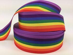 """BTY 1 1/2"""" Rainbow Pride Grosgrain Ribbon Hair Bows Scrapbooking Lisa"""