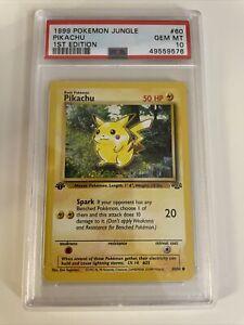 1999 Pokemon Jungle 1st Edition Pikachu PSA 10 Gem Mint Rare Card #60