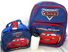 "DISNEY THE CARS LIGHTNING MCQUEEN 16"" BACKPACK AND MATCHING MCQUEEN LUNCHBOX-NEW"
