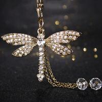 Cute Bead Dragonfly Crystal Keyring Charm Pendant Bag Car Key Ring Keychain S7B4