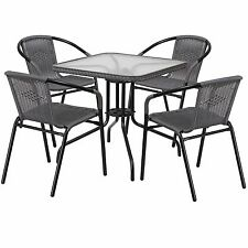 Patio Furniture Sets Clearance Metal Glass Table 5 Piece Rattan Chairs Square
