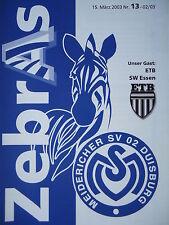Programma 2002/03 MSV Duisburg am. - ETB SW Essen