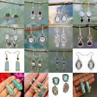 Woman 925 Silver Turquoise Hoop Dangle Earrings Wedding Birthday Fashion Gift