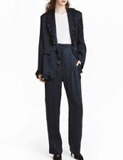 CHIC Tailleur Bleu nuit fluide Veste blazer volants ET pantalon Large H&M T 36