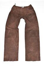 "HARRODS in Pelle Marrone Gamba Dritta Pantaloni Donna Pantaloni Jeans Taglia W30"" L32"""