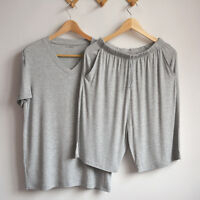 Men Loungewear Pajamas Set  V Neck Pyjamas T-Shirt Shorts Sleepwear Soft Summer