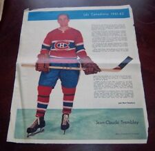 Jean -Claude Tremblay La Patrie Du Dimanche photo Montreal Canadians 1961-62