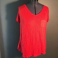 Lane Bryant Women's Plus Size 22/24 V-Neck T-Shirt V-Back Red Stripes Pocket