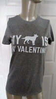 NWOT Cotton Heritage T~Shirt Juniors L Gray S/S Graphics MY DOG IS MY VALENTINE