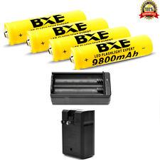 4pcs 18650 3.7V 9800mAh Li-ion Lithium Rechargeable BRC Battery 1x 18650 Charger