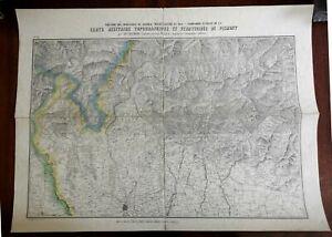 Kingdom Piedmont Italy c. 1850 lg. topographical war map Mila Brescia Lake Como