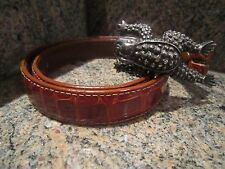 Kieselstein-Cord Sterling Toad Buckle with Brown Alligator Belt