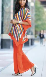 Ashro Summer Vacation Beach Dress Orange Multi Stripe Pant Set L XL 1X 3X PLUS
