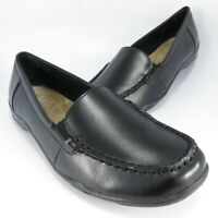 Bass ANN Driving Moccasins Womens Size 9M Black Leather Casual Slip-Ons Loafers
