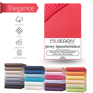Jersey Spannbettlaken Betttuch Bettlaken 100% Baumwolle 8 Größen 32 Farben