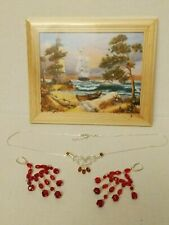 Amber and Sterling necklace and earring Vintage picture w/frame & Amber chips,