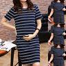 Womens Ladies O-Neck Pregnant Nursing Maternity Short Sleeve Stripe Summer Dress