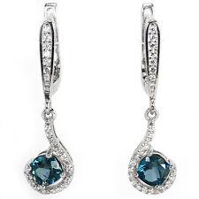 Sterling Silver 925 Stunning Genuine Cushion Cut London Blue Topaz Earrings