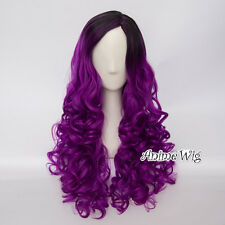 60CM Lolita Black Mixed Purple Ombre Women Long Curly Cosplay Wig Heat Resistant