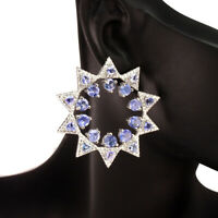 Unheated Round Blue Tanzanite 4mm Natural Cz 925 Sterling Silver Earrings 36mm