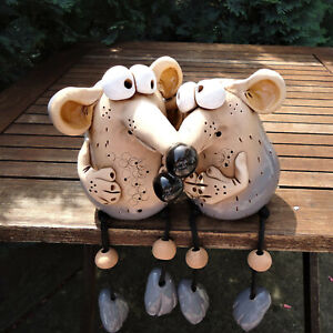 Keramik *Mäuse-Paar Paul & Paula* Gartenstecker Kantensitzer Garten Deko Figur